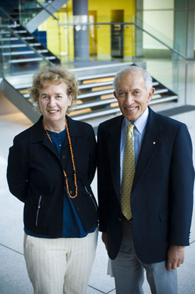 Professor Christina Mitchell talks with The Governor of Victoria, Professor David de Kretser, A.C, during a visit to Monash University, Department of Medicine, School of Biological Sciences.
