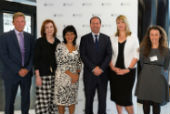 MSDI Chair Professor John Thwaites; Monash Vice-Chancellor Professor Margaret Gardner AO; federal member for Chisolm, Julia Banks MP; Federal Minister for the Environment and Energy, the Hon. Joshua Frydenberg MP; MSDI Director Professor Rebekah Brown; Faculty of Medicine Professor Karin Leder.